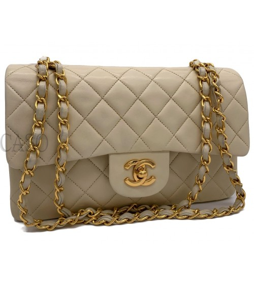 CHANEL VINTAGE CLASSIC BAG CREAM LEATHER WITH GOLD TONE HARDWARE