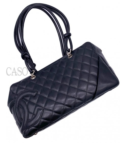 CHANEL VINTAGE BAG CAMBON MODEL BLACK LEATHER