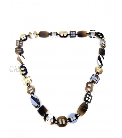 HERMES LACQUER AND HORN LONG NECKLACE OPUS COLLECTION