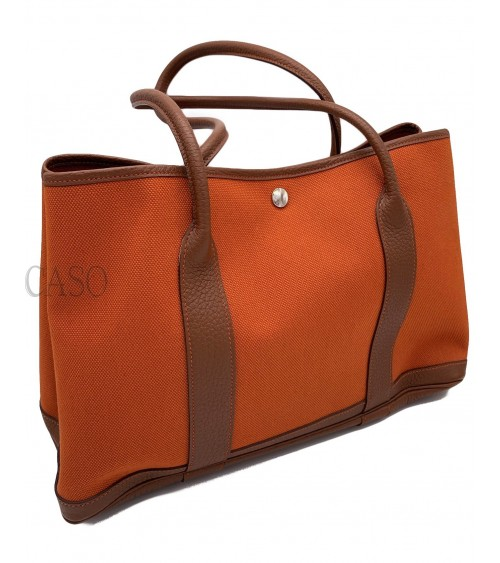 HERMES GARDEN PARTY LEATHER AND CANVAS BAG