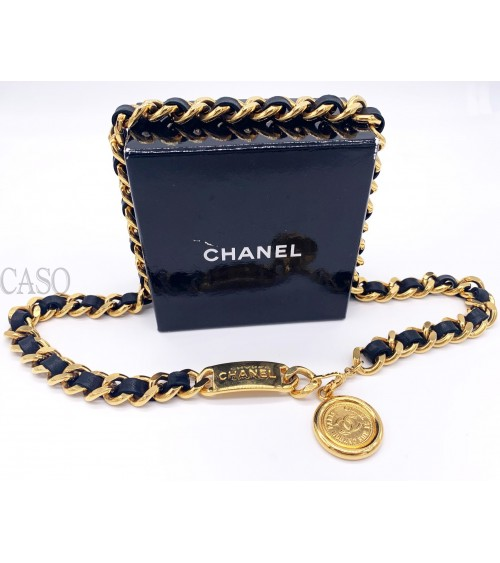 CHAIN AND LEATHER CHANEL VINTAGE ICONIC BELT