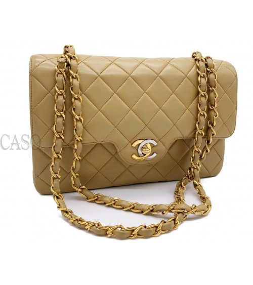 CHANEL VINTAGE CLASSIC DOUBLE FLAP BAG BEIGE LEATHER